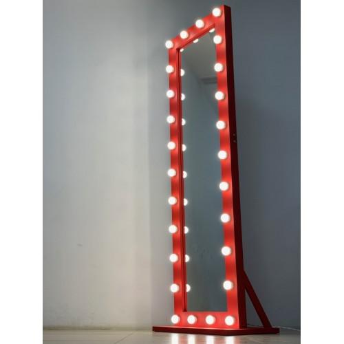 Большое красное гримерное зеркало с подсветкой лампами 200х60