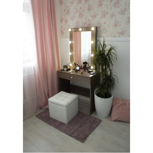 Гримерный столик 80х80 с зеркалом и подсветкой 80х60